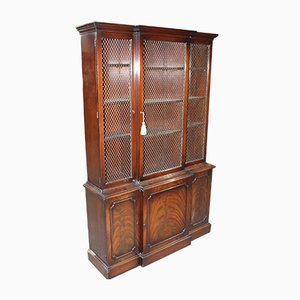 Large Mahogany and Wire Mesh 3-Door Bookcase, 1960s