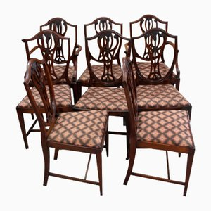 Mahogany Wheatsheaf Dining Chairs, 1960s, Set of 8