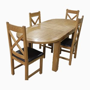 Solid Golden Oak Dining Table & Chairs Set, 1980s, Set of 5