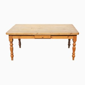 Large Pinewood Country Table on Turned Legs with One Drawer, 1960s