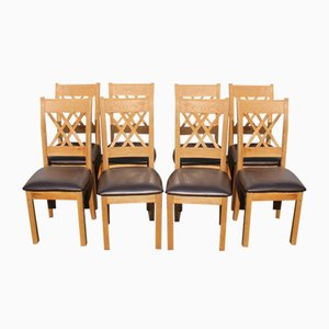 Golden Oak and Brown Leather Dining Chairs, 1980s, Set of 8