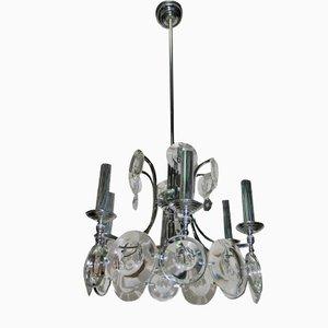 Lámpara de araña de acero y cristal de Oscar Torlasco para Esperia