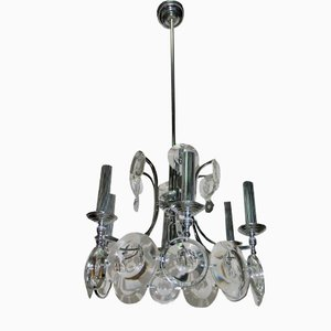 Steel and Crystal Chandelier by Oscar Torlasco for Esperia