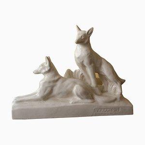 Art Deco French Craquelle Ceramic Sculpture by Francois, 1940s