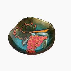 Italienischer Vintage Teller aus emailliertem Kupfer von Franco Bastianelli für Laurana