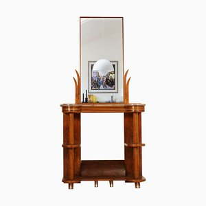 Art Deco Walnut and Marble Console Table with Mirror by Quirino de Giorgio, 1920s