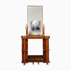 Art Deco Walnut and Marble Console Table with Mirror by Quirino de Giorgio, 1920s