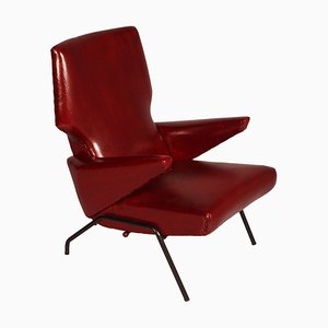 Divano Mid-Century in pelle rossa scura nello stile di Svend Skipper, Italia, anni '60