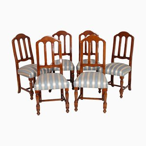 Art Deco Gothic Style Italian Solid Walnut Dining Chairs from Bassano Ebanistery, 1920s, Set of 6