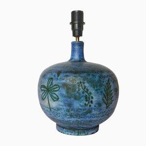 Lampe de Bureau en Céramique Bleue par Jacques Blin, 1950s