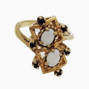 Opal und Saphir Ring, 1970er