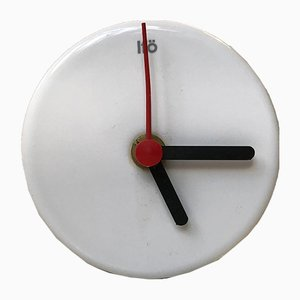Minimalist White Porcelain Wall Clock from Ifö, 1990s