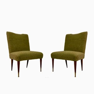 Mid-Century Italian Green Wool and Linen Blend Slipper Side Chairs, 1950s, Set of 2