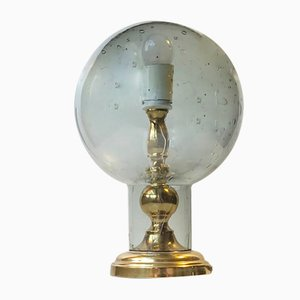 Vintage Scandinavian Gray Glass and Brass Table Lamp, 1970s