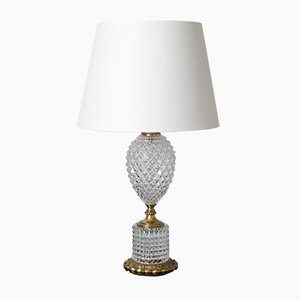 Mid-Century Hollywood Regency Style Glass Pineapple Table Lamp, 1960s