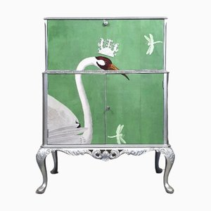 Mid-Century Cocktail Cabinet with Gucci Heron Decoupage