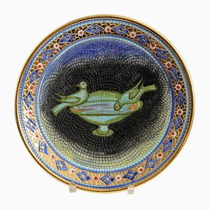 Vintage Ceramic Plate with Byzantine Mosaic from Gialletti Deruta