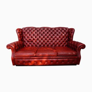 Red Leather Buttoned High Back Chesterfield Wing Sofa from Pegasus, 1960s