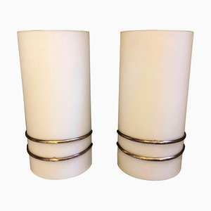 Mid-Century Italian Brass and Glass Sconces from Stilux Milano, 1960s, Set of 2