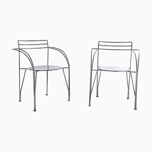 French Gray Metal Model Lune d'argent Side Chairs by Pascal Mourgue, 1980s, Set of 2