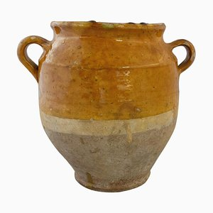 Medium French Terracotta Confit Pot with a Yellow Glaze