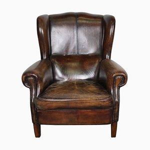 Cognacfarbener Niederländischer Vintage Leder Ohrensessel