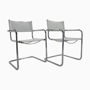 Mid-Century Chrome Leather Armchairs