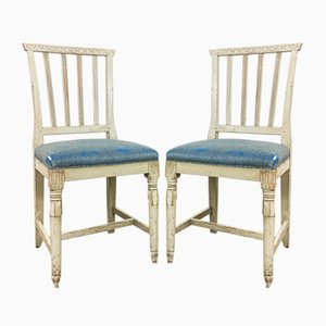 Antique Gustavian Swedish Dining Chairs, Set of 2