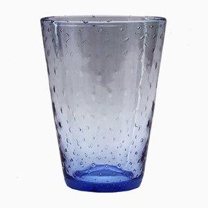 Blaue Mid-Century Vase aus geblasenem Glas von Keith Murray für Stevens & Williams