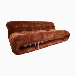 Soriana Sofa by Afra and Tobia Scarpa for Cassina in Original Brown Fabric