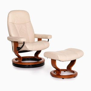 Consul Armchair and Ottoman in Cream with Relax Function from Stressless