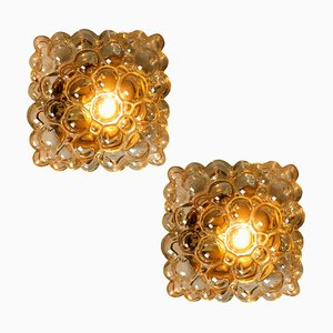 Amber Bubble Flush Mounts or Wall Sconces by Helena Tynell for Glashütte Limburg, 1960s, Set of 2