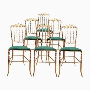 Italian Brass Chairs with Emerald Green Velvet Upholstery from Chiavari, 1960s
