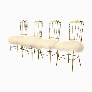 Solid Brass Chairs with Wool Seats from Chiavari, 1960s