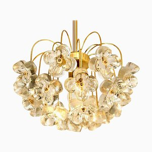 Modernist Kalmar Style Glass and Brass Chandelier by Sische, 1960s