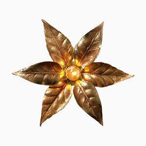 Brass Flower Wall Light in the style of Willy Daro, 1970s