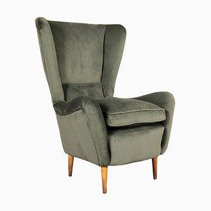 Wood and Velvet Armchair, 1950s