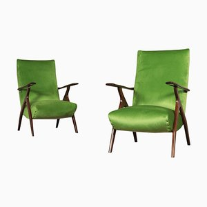 Italian Beech and Velvet Armchair, 1950s