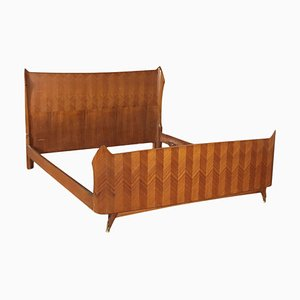Italian Queen Size Bed with Mahogany Veneer, 1950s
