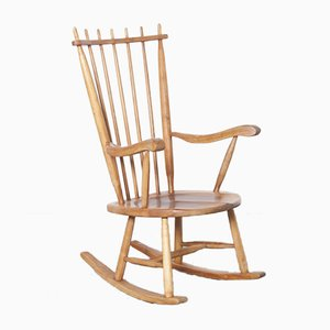 Dutch High Back Rocking Chair by de Ster Gelderland