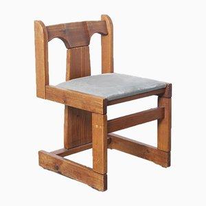 Dreibeiniger Stuhl aus massivem Pinienholz, 1970er