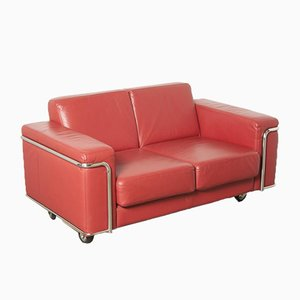 Red Leather 2-Seater Sofa on Wheels