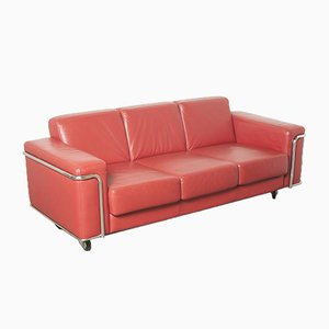 Red Leather 3-Seater Sofa on Wheels