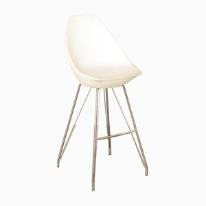 Vintage White and Chrome Bar Stool