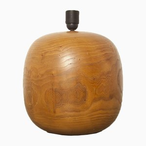 Vintage Spherical Wooden Table Lamp, 1980s