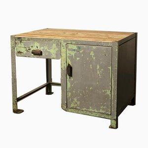 Banco de trabajo industrial vintage pequeño de acero