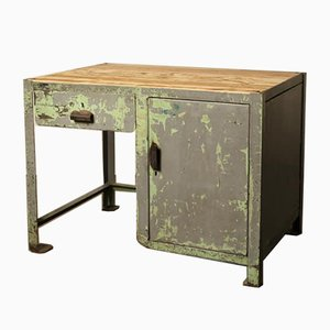 Kleine Industrielle Vintage Werkbank aus Stahl