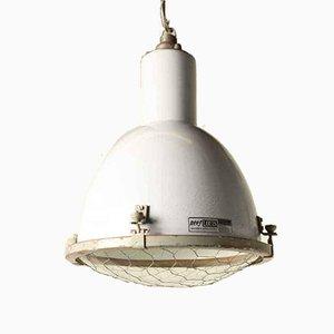 Lampada a sospensione vintage industriale in vetro smaltato grigio