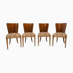 Art Deco Walnut Veneer Model H-214 Dining Chairs by Jindrich Halabala for UP Závody, 1950s, Set of 4