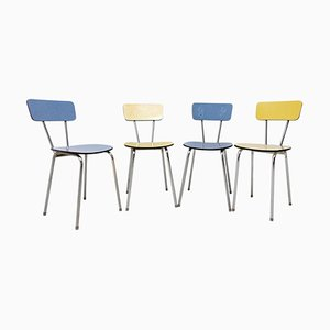 Czechoslovakian Colored Formica Cafe Chairs, 1960s, Set of 4